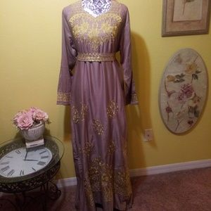 Dresses & Skirts - Abaya Tan with gold embroidery. Purchased in Egypt